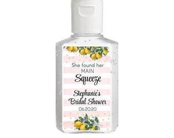 Vintage Botanical Citrus Lemon Hand Sanitizer Labels with Pink and White | Rectangular Labels | Baby Shower| Bridal Shower | Wedding Shower