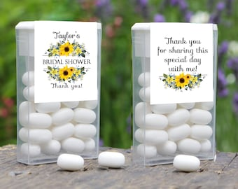 Personalized Sunflower Tic Tac Labels for Weddings, Bridal Showers, Baby Showers and Retirement Parties