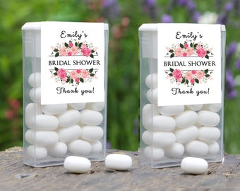 Personalized Pink Floral Bouquet Tic Tac Labels for Weddings, Bridal Showers, Baby Showers and Retirement Parties