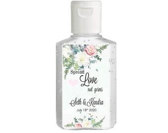 Purell hand sanitizer labels 2 oz. size bottle - White Mint and Blush Rose Shower Favors - Bridal Shower - Wedding - Rehearsal Dinner