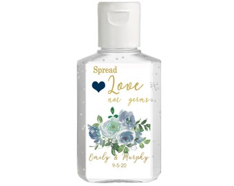 Purell hand sanitizer labels 2 oz. size bottle - Bridal Shower Labels - Hand Sanitizer Labels - Bridal Shower Decor - Spread Love Not Germs