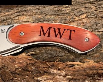Rosewood Curved Handled Knife Custom Monogram| Pocket Knife | Best Man Gift | Groomsman Gift | Gift for Him | Christmas Gift