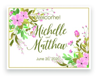 """4"""" x 3"""" Personalized Welcome Box Labels - Wedding Welcome Bag Labels - Wedding Favors- Welcome Stickers - Box Stickers - Pink Floral"""