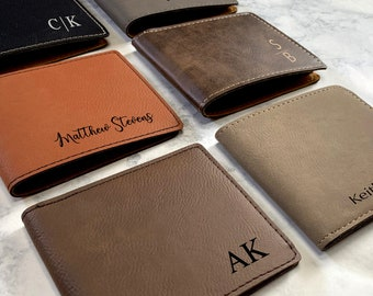 Engraved Men's Wallet, Custom Monogrammed Wallet,  Bifold Slim Wallet, Groomsman Wallet, Men's Custom Wallet, Wedding Wallet
