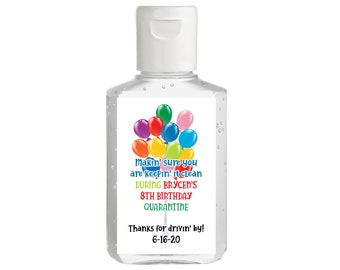 Drive Through Birthday Party, Hand Sanitizer Label, Quarantine Birthday, Drive by - Purell hand sanitizer labels for 2 oz. size bottle