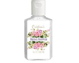 Pink Roses Hand Sanitizer Labels | Rectangular Labels | Baby Shower| Bridal Shower | Wedding Shower