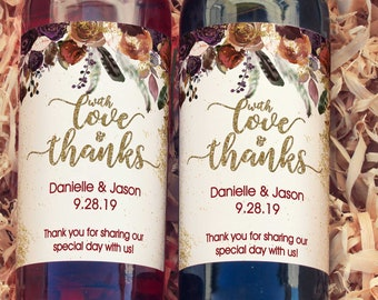 Thank You Wine Labels - With Love and Thanks Fall Wedding Favors Wine Labels  - Wedding Wine Bottle Labels - Thank you - Wine Gifts