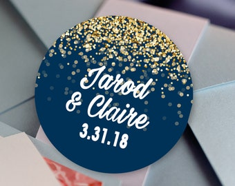 Thank you Stickers, Custom Labels - Round Wedding labels - Bridal Shower, Wedding, Baby, Birthday - Sparkle Design  - Wedding Favor Stickers