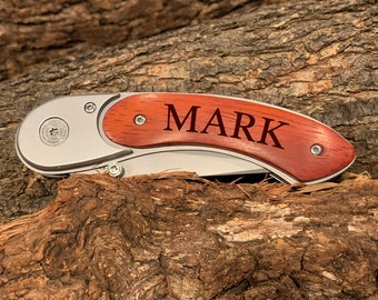 Rosewood Curved Handled Knife Custom Personalization | Pocket Knife | Best Man Gift | Groomsman Gift | Gift for Him | Christmas Gift