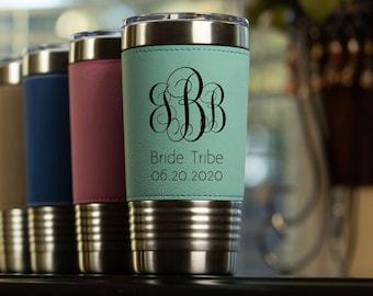 Personalized Leather Travel Tumbler 20 oz | Bridesmaids Tumbler - Maid Of Honor Tumbler - Personalized Travel Mug - Bride Tribe - Monogram