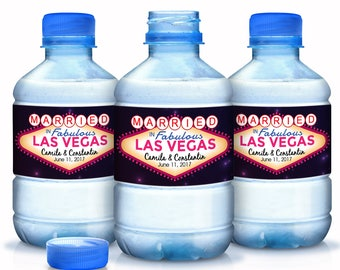 Las Vegas Wedding Decor - 30 Wedding Water Bottle Labels - Las Vegas Custom Water Bottle Labels - Waterproof Water Bottle Labels
