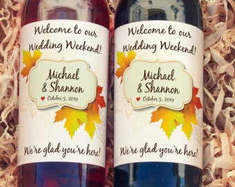 Thank You Wine Labels - Fall Wedding Favors Fall Leaves Wine Labels  - Wedding Wine Bottle Labels - Thank you - Wine Gifts - Maple Leaf