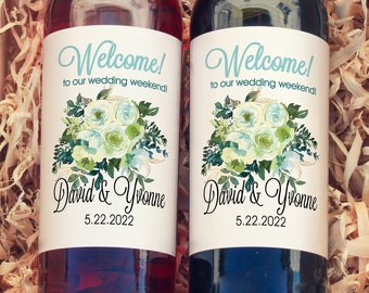 Chartreuse & Turquoise Personalized  Large Wine Labels for Bridal Showers, Birthdays, Weddings, and Baby Showers