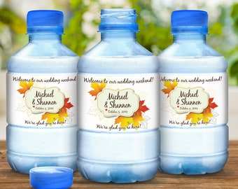 30 Fall Wedding Favors Water Bottle Labels - Fall Wedding Decor - Fall Bottle Wraps - Maple Leaves - Falling Leaves - Fall Colors