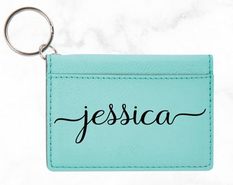Personalized Custom Leatherette ID Keychain | Personalized Keychain | Monogram | Key Chain for Women | D Badge Holder | ID Wallet