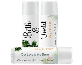 Personalized Tropical Birds of Paradise and Palm Leaves Lip Balm Labels for Bridal Showers, Weddings, Birthdays, Retirement and Baby Showers