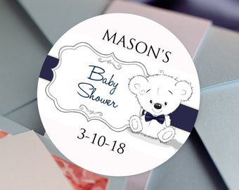 Thank You, Custom Labels - Personalized Stickers -  Round Stickers - Baby Shower - Cute Bear - Color Coordinated - Bear with Bow Tie