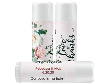 Lip Balm Labels   Personalized Lip Balm Labels - With Love and Thanks labels  1 Sheet of 12 Lip Balm Labels Rose Gold Blush Lip Balm Labels