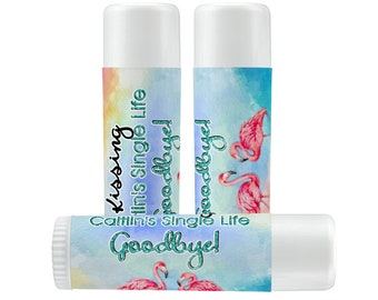Lip Balm Labels   Personalized Lip Balm Labels - Kissing her Single Life Goodbye Tropical Flamingo labels  1 Sheet of 12 Lip Balm Labels