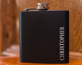 Personalized Black Flask | Wedding Initials Flask | Groomsman Gift | Wedding Party Gift | Best Man Gift | Vertical Name | Custom Engraved