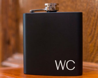 Matte Black Personalized Flask with Initials - Engraved Groomsman Flask Gift