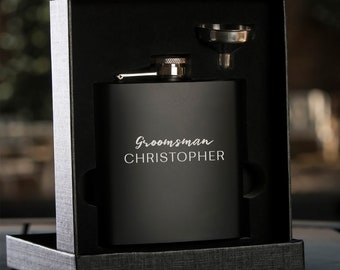 Personalized Black Hip Flask with Funnel | In Gift Box | Best Man Gift | Wedding Party Gift | Groomsman Gift | Wedding Gift | Cursive