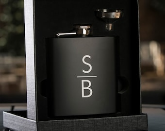 Personalized Black Hip Flask with Funnel - In Gift Box - Best Man Gift Wedding Party Gift - Groomsman Gift - Wedding Gift - Stacked Monogram