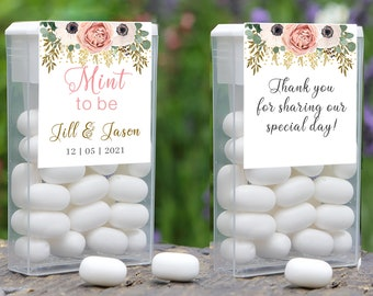 Personalized Peach Rose  Mint to Be Tic Tac Label Wedding Favors, Tic Tac Favors, Wedding, Bridal Shower Favors, Personalized Favor