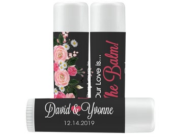 Lip Balm Labels - Personalized Lip Balm Labels - Bridal Shower Lip Balm labels - 1 Sheet of 12 Lip Balm Labels - Pink Rose Lip Balm Labels
