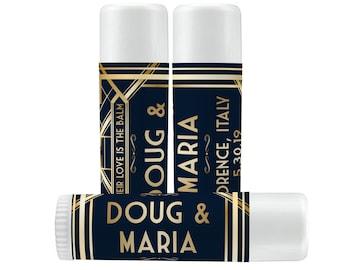 Vintage Chapstick Favor Labels - Wedding Lip Balm Favors - Chapstick Wedding Favors & Labels - Roaring 20s Labels  - Custom Lip Balm Labels