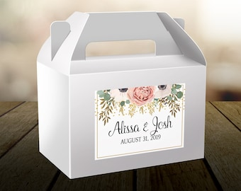 """4"""" x 3"""" Personalized Welcome Box Labels - 30 Wedding Welcome Bag Labels - Wedding Favors - Welcome Stickers - Box Stickers - Peach Rose"""