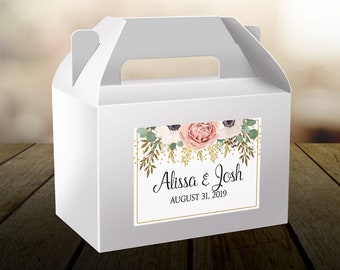 Personalized Welcome Box Labels - Wedding Welcome Bag Labels - Wedding Favors - Welcome Stickers - Box Stickers - Peach Rose