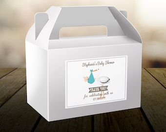 """4"""" x 3""""  Personalized Welcome Box Labels -  Baby Shower Baby Stork Box Bag Stickers - Baby Shower Labels - Baby Shower Decor - Thank you"""