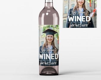 4 Photo Graduation Wine Labels • Personalized Graduation Wine Label - Add Your Picture - Class of  - I Wined - Custom Color
