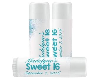Lip Balm Labels - Personalized Lip Balm Labels - Birthday Lip Balm labels - Sweet 16 - Birthday Favors - 1 Sheet of 12 Lip Balm Labels