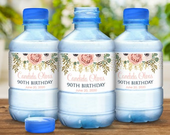 30 Pale Pink Rose Birthday Water Bottle Labels -Pale Pink Floral Birthday Labels, Birthday Decor, Party Decor, Birthday Decor