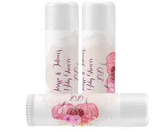 Lip Balm Labels - Personalized Lip Balm Labels - Pink Pumpkins Lip Balm labels - 1 Sheet of 12 Lip Balm Labels - Custom Lip Balm Labels