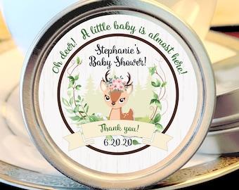 12 Woodlands Baby Shower Mint Tins -  Oh Deer Baby Woodland Animals - Baby Animal Favors - Woodlands Baby Shower Favors