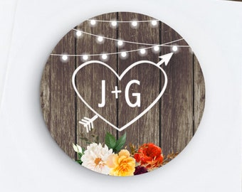 Carved Initials Fall Wedding Favors, Fall Floral Stickers with Lights, Fall Harvest, Rustic Wedding,  Bridal Shower, Rehearsal