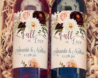 Thank You Wine Labels - With Love and Thanks Burgundy Rose and Dahlia Wine Labels  - Wedding Wine Bottle Labels - Thank you - Wine Gifts