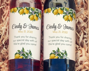 Vintage Botanical Citrus Large Personalized Wine Labels for Bridal Showers, Birthdays, Weddings, and Baby Showers