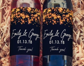 Gold Sparkle  Winter Wedding Wine Labels | Winter Wedding Wine Favors, Gold Sparkle Wine Labels, Wine Favors, You Choose the Colors