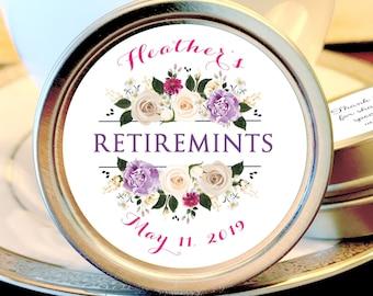 12 Retirement Mint Tins - RetireMints - Floral - Retirement Favors - Retirement Decor - Retirement Mints - Retired Mints - Ladies Retirement