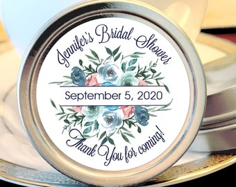 Personalized Bridal Shower Floral Blue Mint Tin Favors - Bridal Shower Favors - Wedding Shower Favors - Rehearsal Dinner Favors