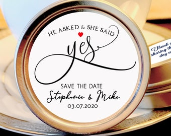 Personalized He Asked, She Said Yes Engagement Mint Tin Favors | Save the Date Favors | Mint Favors | Set of 12