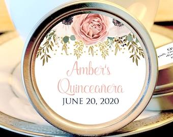 Peach Rose Quinceañera Party Mint Tins - Quinceañera Favors - Birthday Decor - Birthday Mints - Birthday Favors - Quinceañera Mint Tins