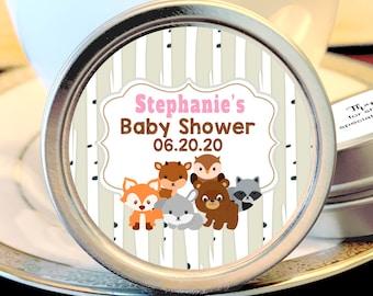 Woodlands Baby Shower Mint Tins - Baby Animals Woodlands - Baby Animals Favors - Baby Shower Favors - Woodlands Baby Shower Favors