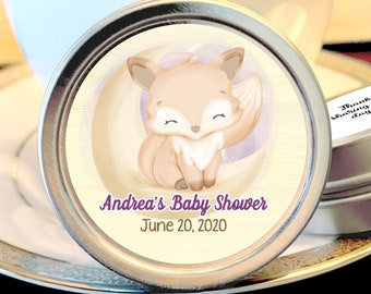 Woodlands Baby Shower Favors - Cute Fox Baby Shower Favor - Cute Fox Baby Shower Candy Favors - Baby Shower Mint Tins