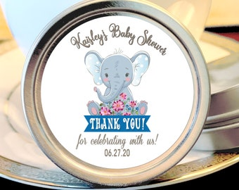 Personalized Little Peanut Elephant Baby Shower Favors -  Gray Elephant, Candy Tins, Little Peanut Boy Baby Shower, Baby Sprinkle
