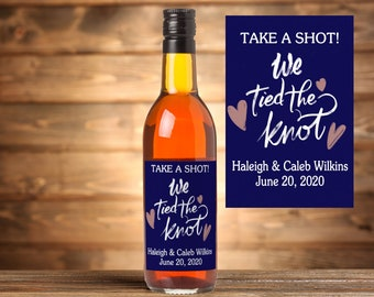 We Tied The Knot Stickers, Wedding Take A Shot Stickers, Favor stickers, Miniature Wine Bottle Label, Alcohol Favor Stickers